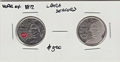 Both 2013 Canadian Laura Secord 25c Coins - Colored & Plain