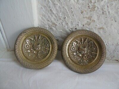 French antique 2 ornate brass bronze finials plaques to any projects decoration