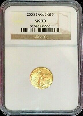 2008 Gold American Eagle $5 Coin 1/10 Oz Ngc Mint State 70