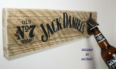 Wooden JACK DANIELS Plaque Sign Wall Mounted Bottle Opener Man Cave Bar Rustic
