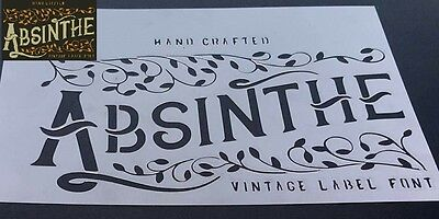 ABSINTHE VINTAGE LABEL Font Airbrush Stencil Mask Home Bar Wall