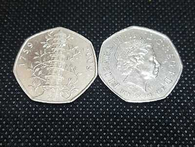 1 x Rare Genuine Kew Gardens 50p Fifty Pence Coins Circulated Condition 2009