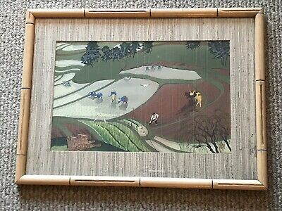 BAKUFU OHNO ORIGINAL JAPANESE WOODBLOCK PRINT RICE FIELD 1950 Signed & Framed