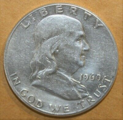 US Franklin Half Dollar 50 Cents 1960 Almost Uncirculated Silver Coin