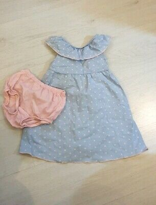 Penelope Mack TK Maxx Polka Dress Knickers Set 2pc 24m Age 2 Baby Blue Spanish