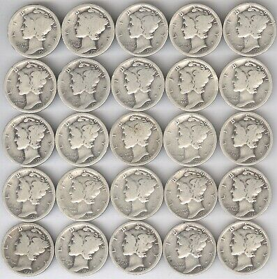 Lot of 25 - Mercury Dimes + 1916 - 1935-D + SILVER + circulated + No Reserve!