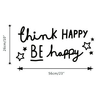 Wall Stickers Think Happy Be Happy Quote Office Art Decals Vinyl Room Decor G