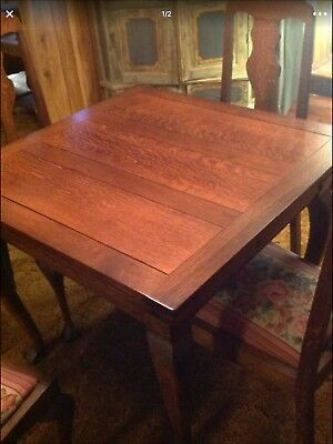Antique Dining Room 4 Matching Chairs Folding Leaves Tiger Oak