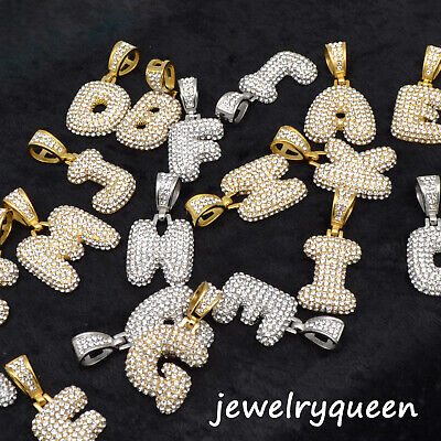 """Initial Bubble Letter Gold Silver Plated Iced Pendant 20"""" Rope Chain Necklace"""