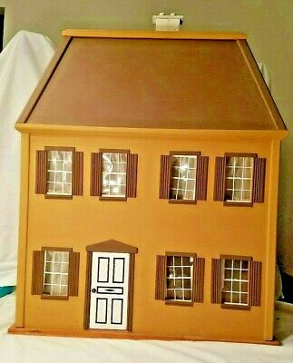 Victorian Mansard Roof Colonial Wood Doll House  Easy Assembly 7 Window 6 Rooms