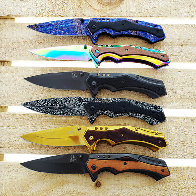 "Falcon 7.5"" Full Metal Spring Assisted Open Pocket Knife With Pattern Design"