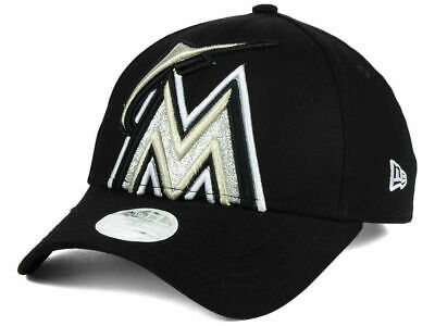 low priced 580ea 2b8d7 Nwt New Era Miami Marlins Mlb Women s Glitter Glam 9Forty Strapback Black  Hat