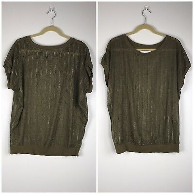 f0c0652a68bd7 Zara Collection Olive Green Semi Sheer Mesh Ribbon Blouse Top Size M  Sleeveless