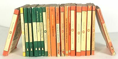 20 Vintage Penguin Orange Green Yellow Collection Books - Interior Design Bundle