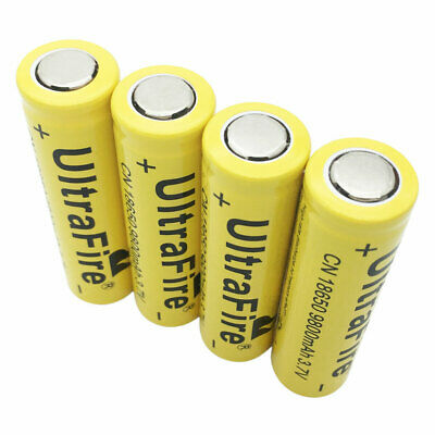 4X18650 3.7V 9800mAh Li-ion Battery Rechargeable Flat Top for Flashlight Torch