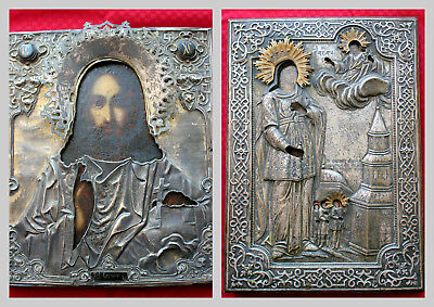 Antique 19th c RUSSIAN ICONS #1 Jesus / #2 St Barbara  Annunciation Silver/Gold
