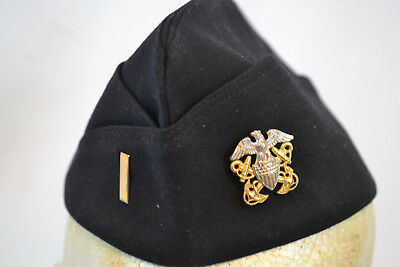 Wwii Us Navy Officer Black Dress Garrison Cap With Hat Insignia Ww2 Usn