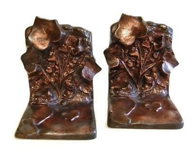 McClelland Barclay Bronze Ivy Bookends Woodland Antique Arts & Crafts Bookends