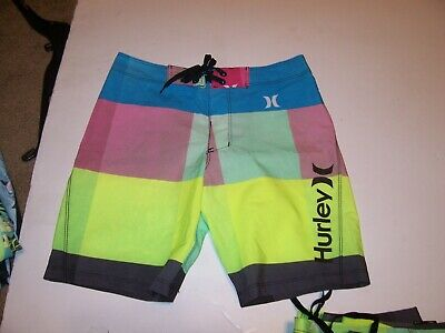e952d6eef6 NEW HURLEY PINK blue yellow board shorts boys youth swim trunks 8 10 12 14  16