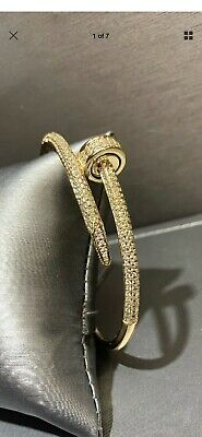 Unisex Designer Nail Bangle CZ Love Bracelet On Magnet Gold Plated  AAA Quality