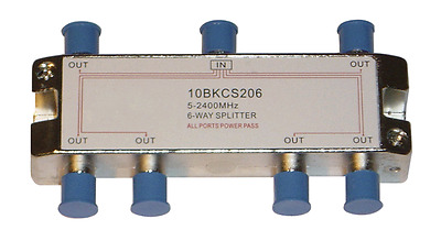 6-Way F-Type TV Antenna Aerial Splitter 5-2400MHz Foxtel Approved