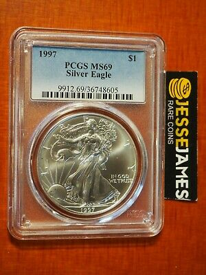 1997 $1 American Silver Eagle Pcgs Ms69 Classic Blue Label Better Date!