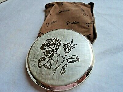 Silvertone STRATTON powder compact - Rose design, with pouch and box - VGC