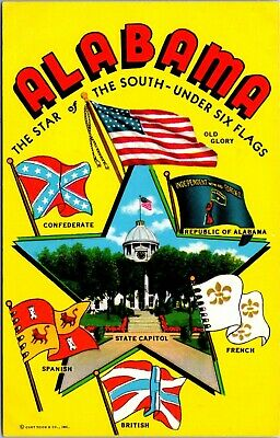 Alabama Star of the South Under Six Flags Postcard