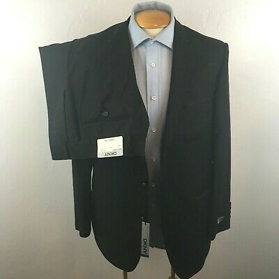 New dkny 2 piece mens suit solid black slim fit 42s 100% wool jacket pant ea0071