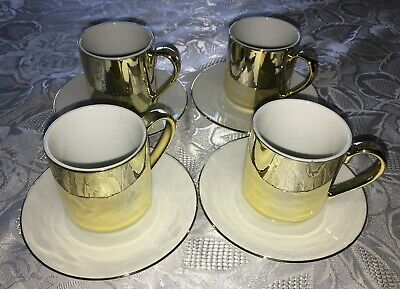 Vtg Shiny Golden Espresso Cup & Saucer LOT of 4 The Cook's Bazaar Made in Taiwan