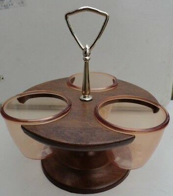 Vintage Lazy Susan Relish Condiment Caddy Mid Century Mod Thermo-serv red-brown
