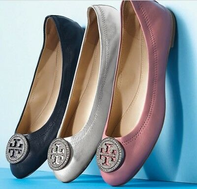 b8049226e23 NEW auth $278 TORY BURCH 6 Liana Navy Leather Ballet Flats SHOES Crystals  T-Logo