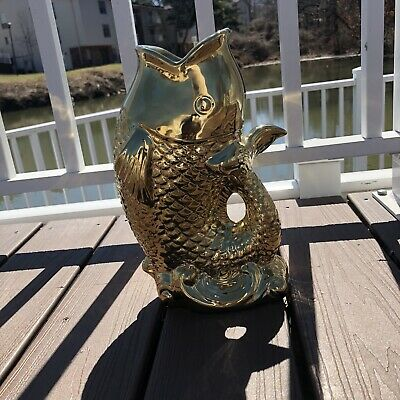 Vintage Chinese Gold Plated Fish Collectible Trophy