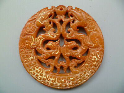 Collect Ancient China Old Jade Carving Auspicious dragon Pendant Decoration