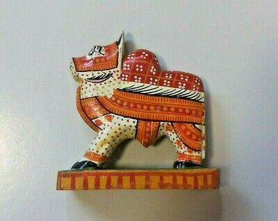 Vintage Indian Wooden Hand Crafted Cow