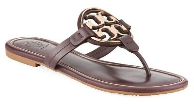 6af084ab8f33 NEW  228 TORY BURCH 6 Miller Malbec Leather Golden T-Logo Flats SHOES  SANDALS