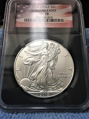 2015-$1 Silver American Eagle NGC MS-70 Early Releases (U.S. Flag Label)