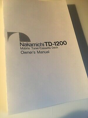 Nakamichi TD-1200 Cassette Deck Owners Instruction Manual