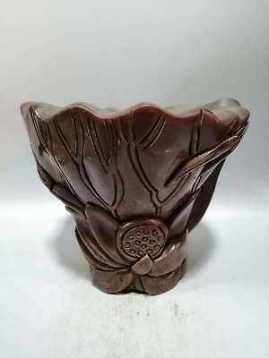 Chinese Exquisite OX Horn Hand-carved Lotus Flower Cup MY1399