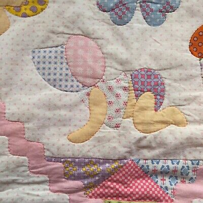 Pink Handmade Scrappy Happy Baby Fabric Panel Quilt Baby Girl in Bonnet Crawling