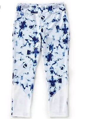Girls GB Active Leggings Size Medium, Blue And White Fitted Leggings, NWT