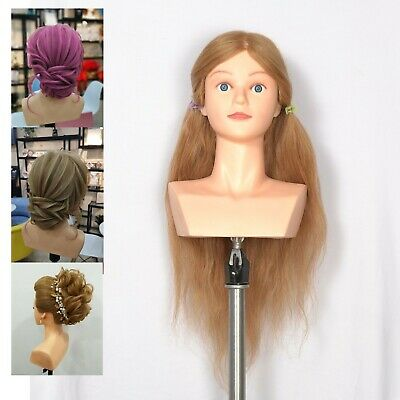Hairdressing 22 inches 100% Human Hair Shoulder Training Mannequin Head