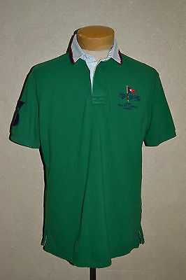 POLO Ralph Lauren M 1967 Yacht Club #3 Green Rugby Style Cotton Pique Polo Shirt
