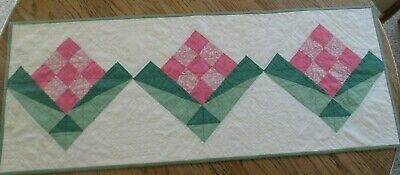 Vintage Table Quilt RUNNER, 1930'S, PINK, GREEN FLOWER ,17 X 44, GREAT QUILTING