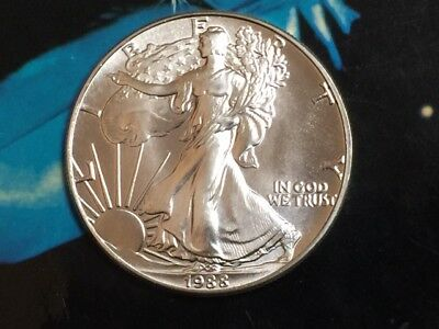 1988 American Silver Eagle, 1 oz 99.99% pure silver bullion BU, GORGEOUS COIN !!