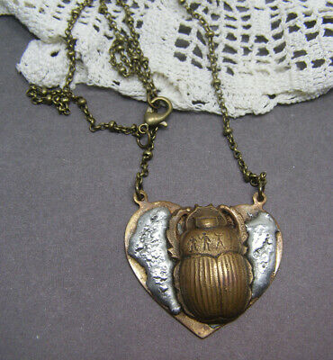 Vintage Brass Egyptian Scarab Beetle Heart Pendant Necklace Ancient Symbols