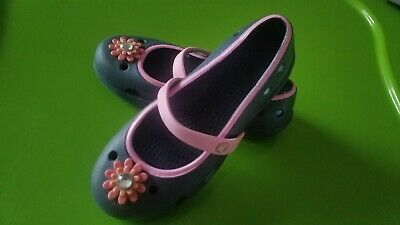 7f5454345197 Toddler Girls shoes crocs shoes flats maryjanes size 12c sz 12 blue pink  flower