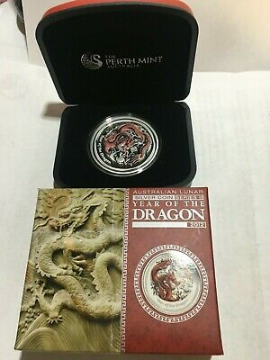 Australian Lunar Silver Coin Series II 2012 Year of the Dragon Coloured Edition
