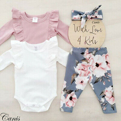 Cute Newborn Baby Girl Cotton Tops Romper Jumpsuit Long Pants Outfits Clothes