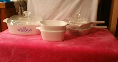 7 Pc Cornflower Blue Corning Ware Set Casseroles Skillet Lids Handle